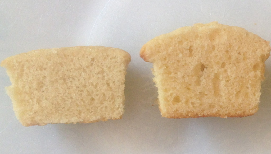 Cut cupcake made with Bob's Red Mill Gluten-Free 1-to-1 All Purpose Blend on the left and my Brown Rice Flour Mix (made with Authentic Foods) on the right
